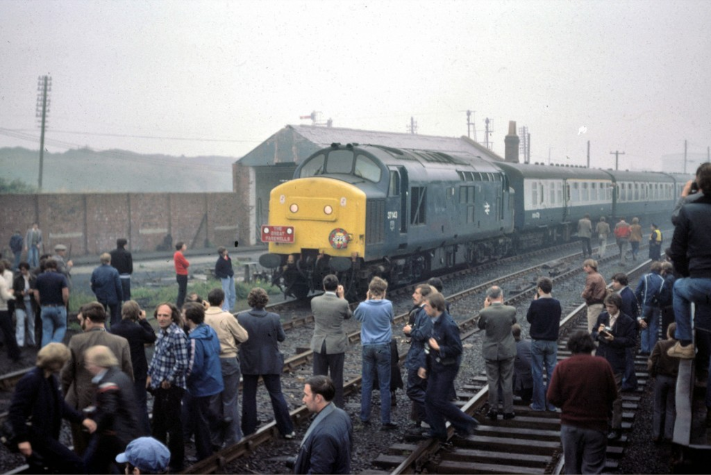 37143 on The Great Fairwells railtour at Consett (20 September 1980)