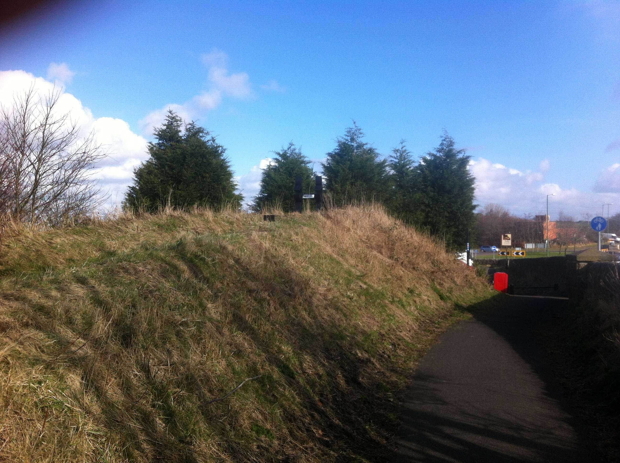 Remains of embankment that lead to a brdige that took the line over the A692 at Leadgate (27 February 2014)