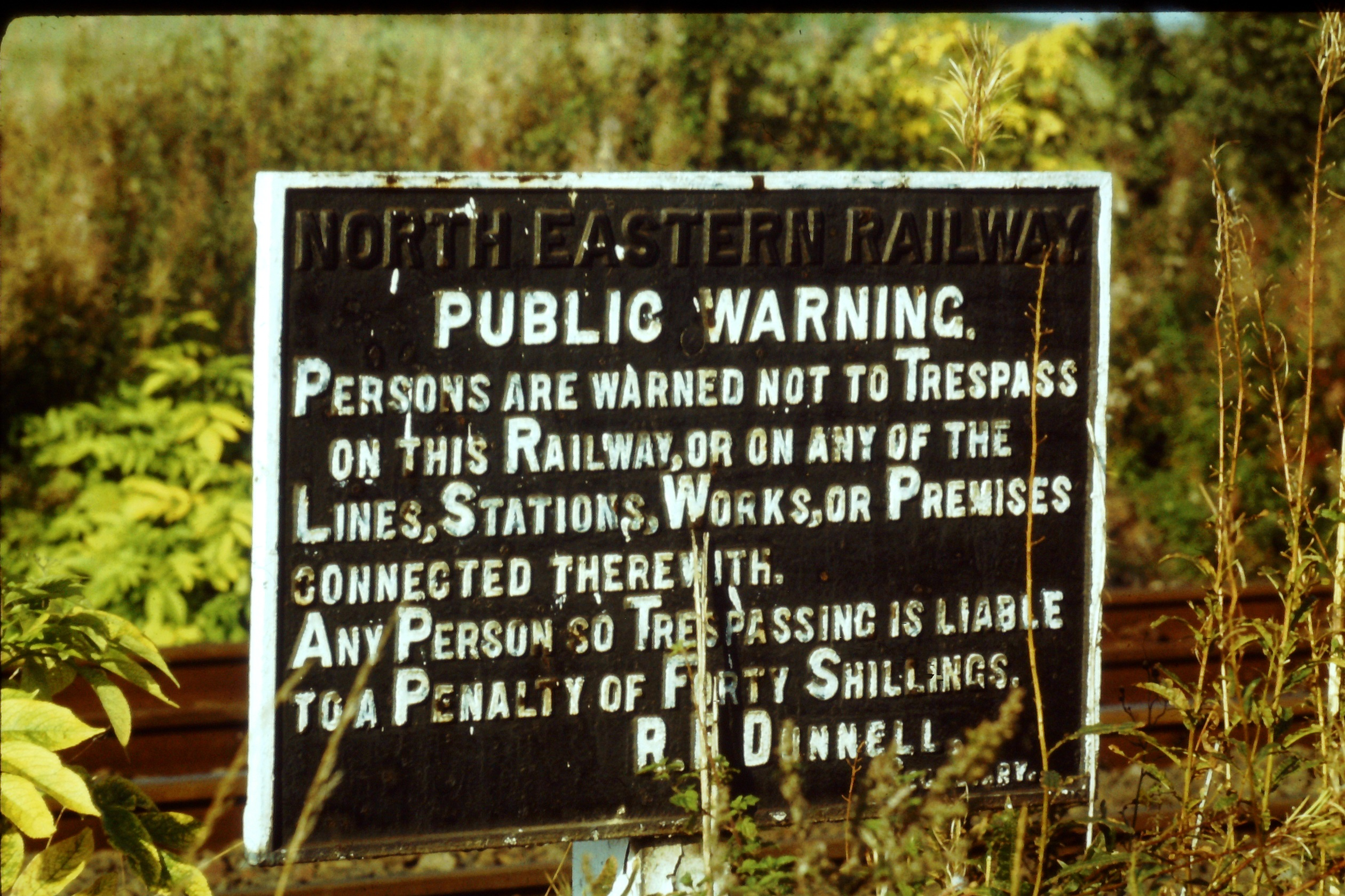 Trespass warning sign at Pelton. Photo Author's Collection