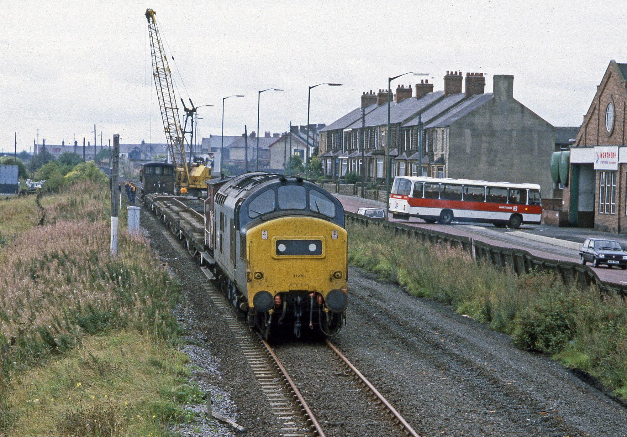 37270 heads the final train to leave Consett on 25 September 1984 with the track literally being lifted being the train. Photo copyright Stephen McGahon