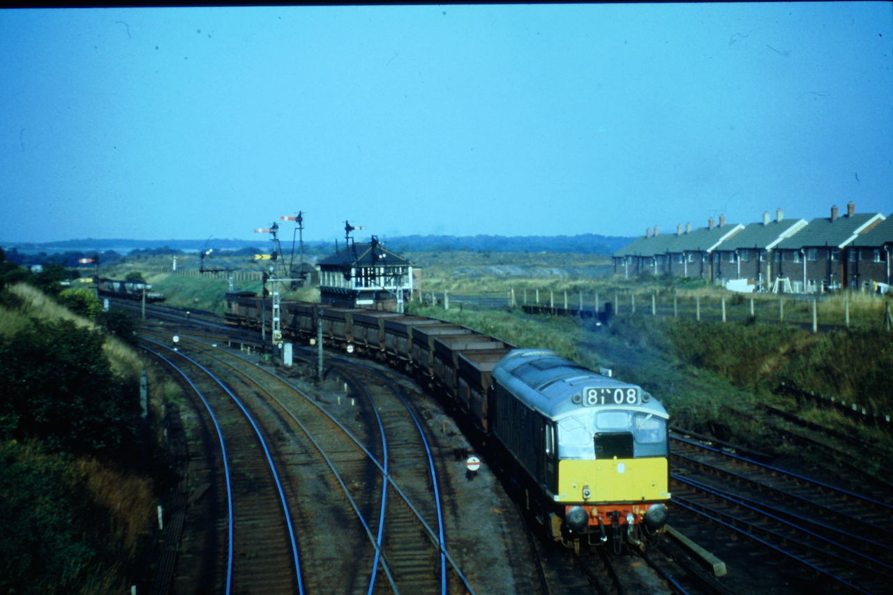 Type 2 (later Class 25) D5179 at South Pelaw Junction in September 1966. The working is unusual for a couple of reasons, firstly the locomotive is a Class 25 rather than the normal Class 24s and there is just the one locomotive, usually the locomotives would be double headed. Photo Author's Collection