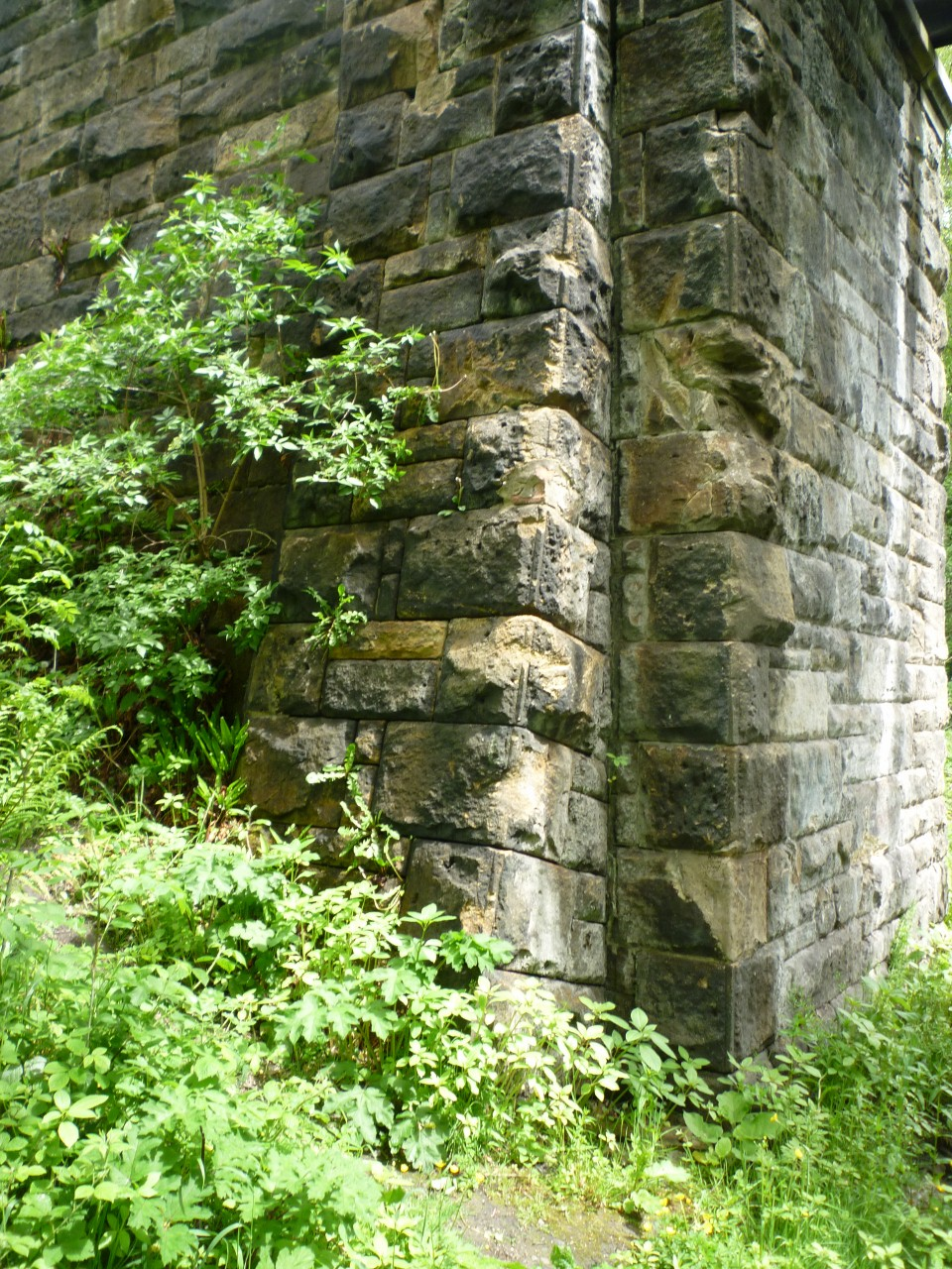 Scars on a bridge abutment at Beamish from the 1964 accident. Photo copyright John Aiston