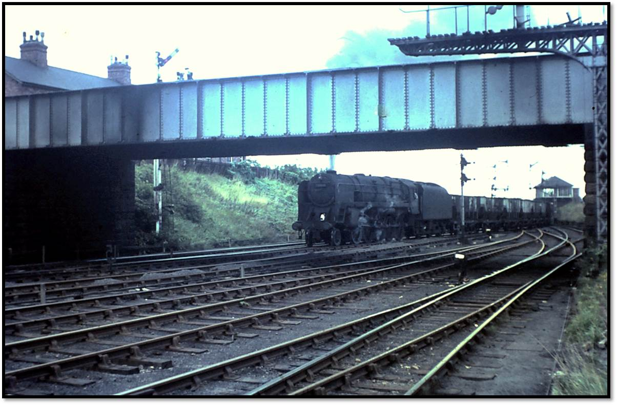 Tyne Dock 9F is about to tackle the steep incline at Pelaw Junction on Thursday September 8, 1966.