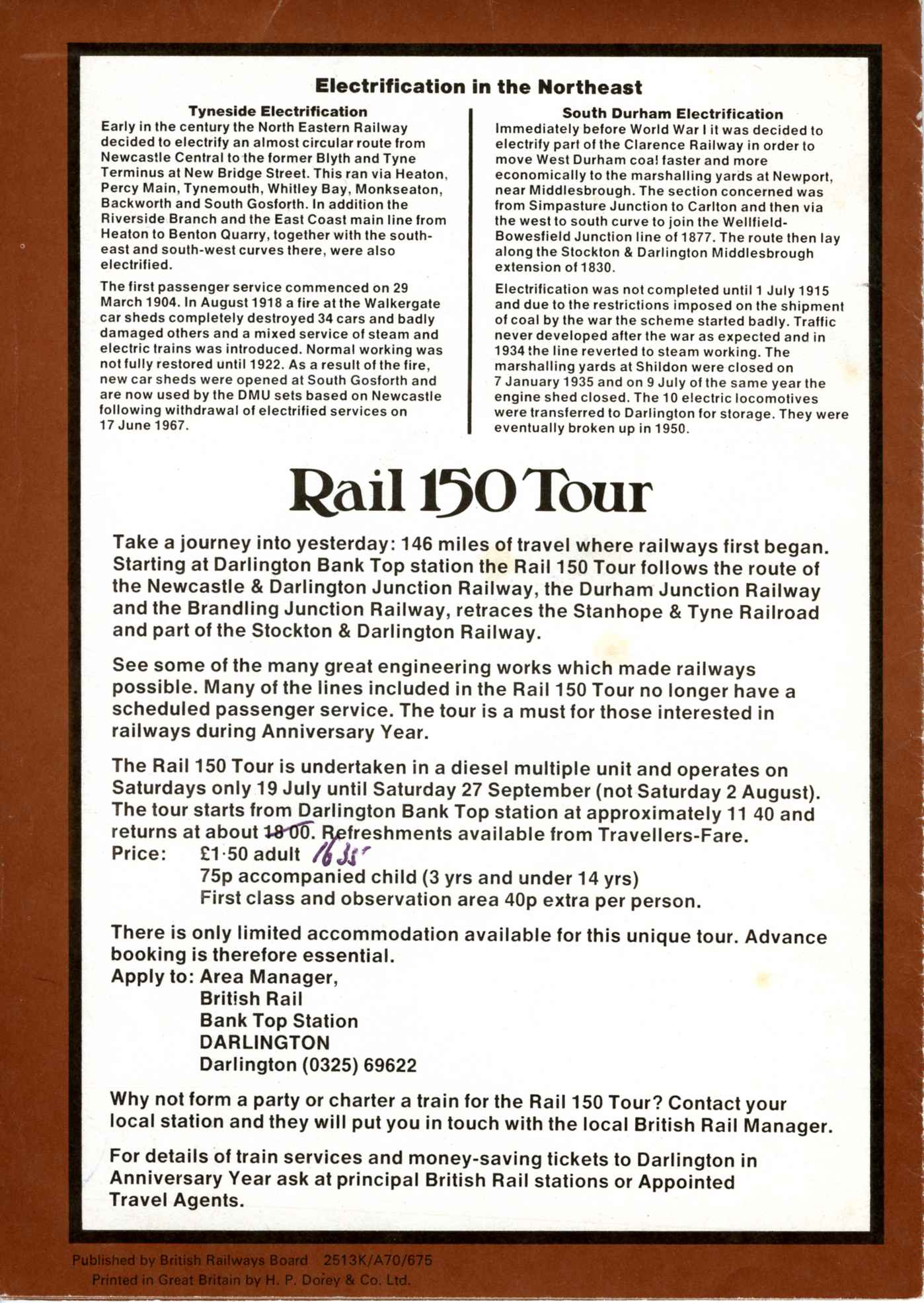 BR Publicity leaflet for the Rail 150 Tour. Courtesy Stephen McGahon