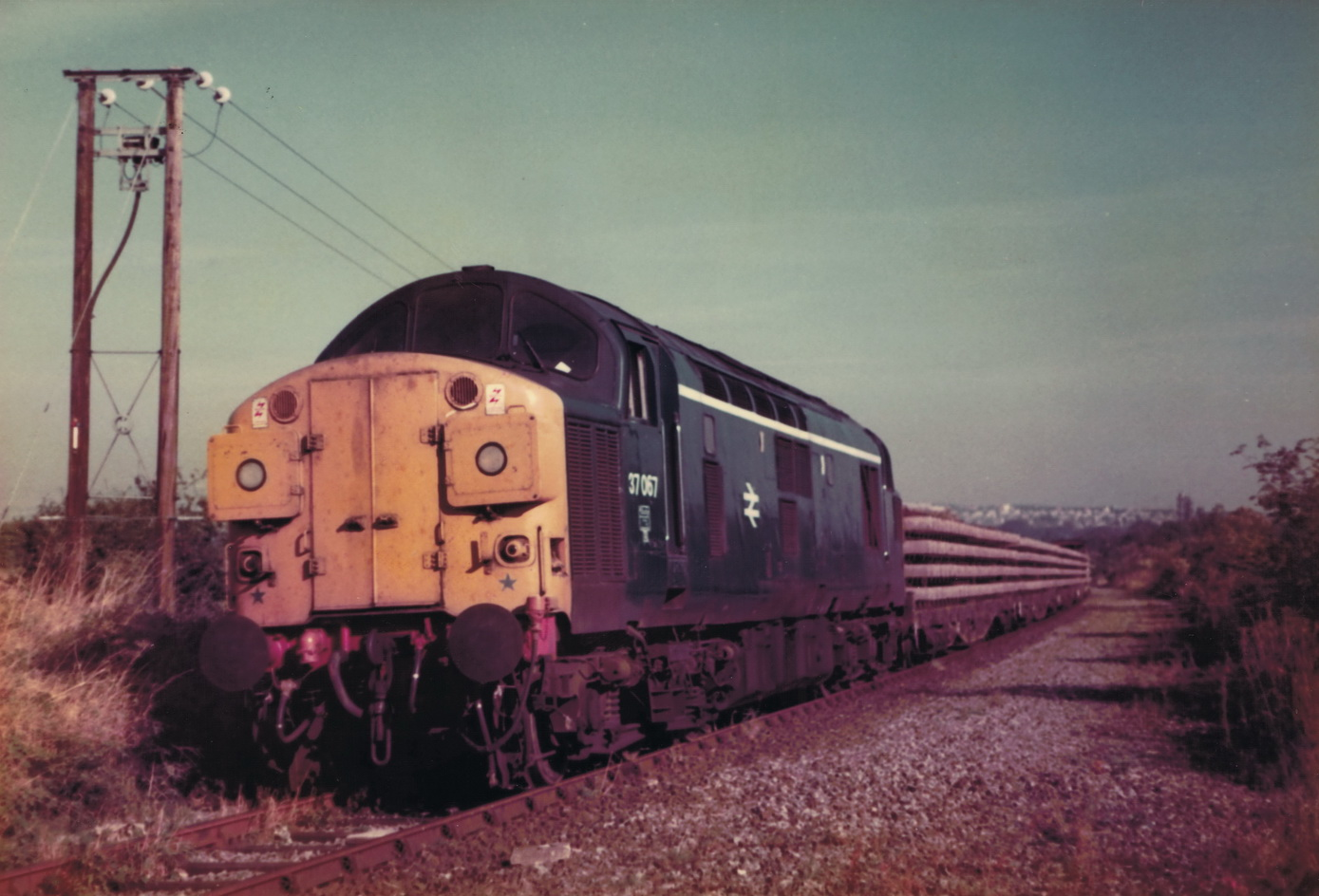 37067 at the rear of a track lifting train at the site of South Pelaw Junction on 6 October 1985. Photo Authors Collection
