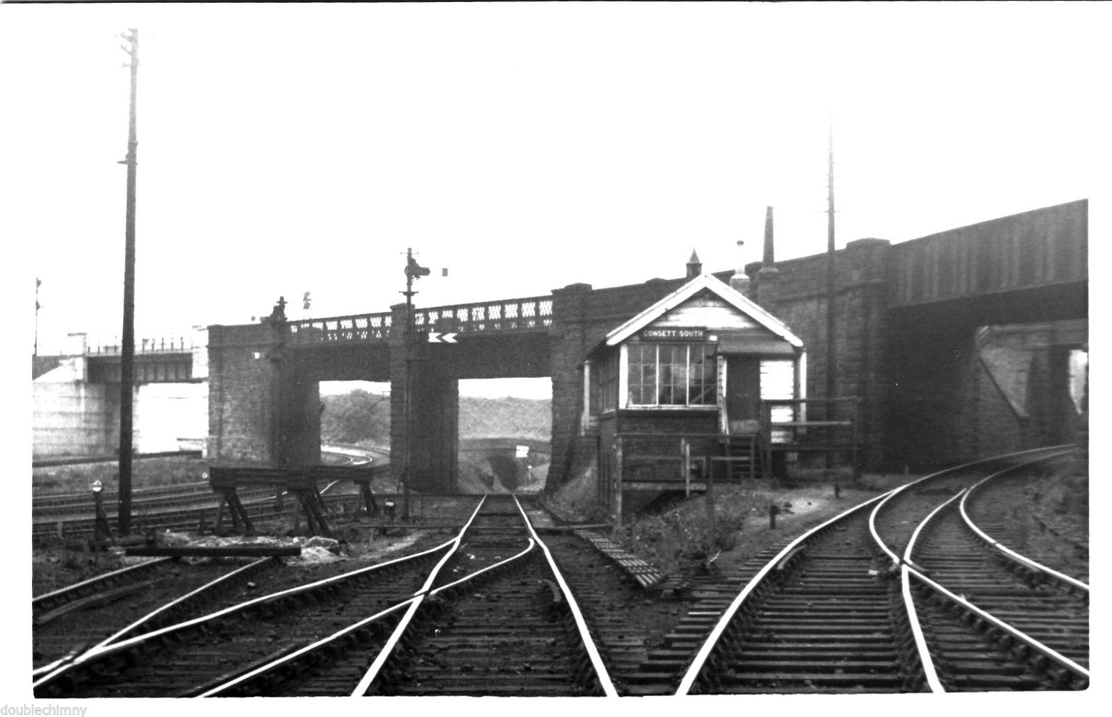 Consett South Signal Box on 16 July 1962. Photo copyright George Devine