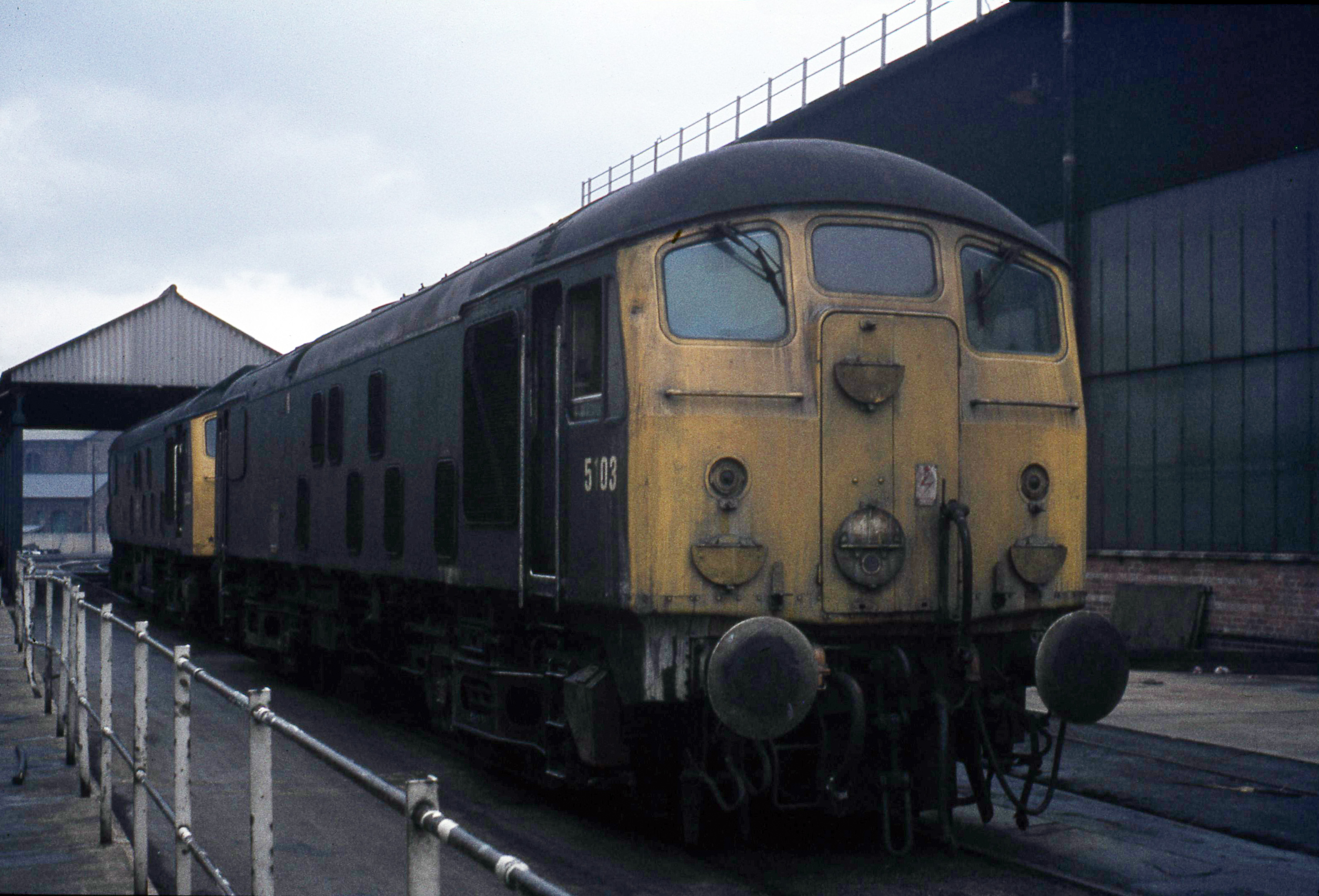 Type 2 5103 at Derby Works showing the additional air pipe for the Consett Iron Ore traffic.