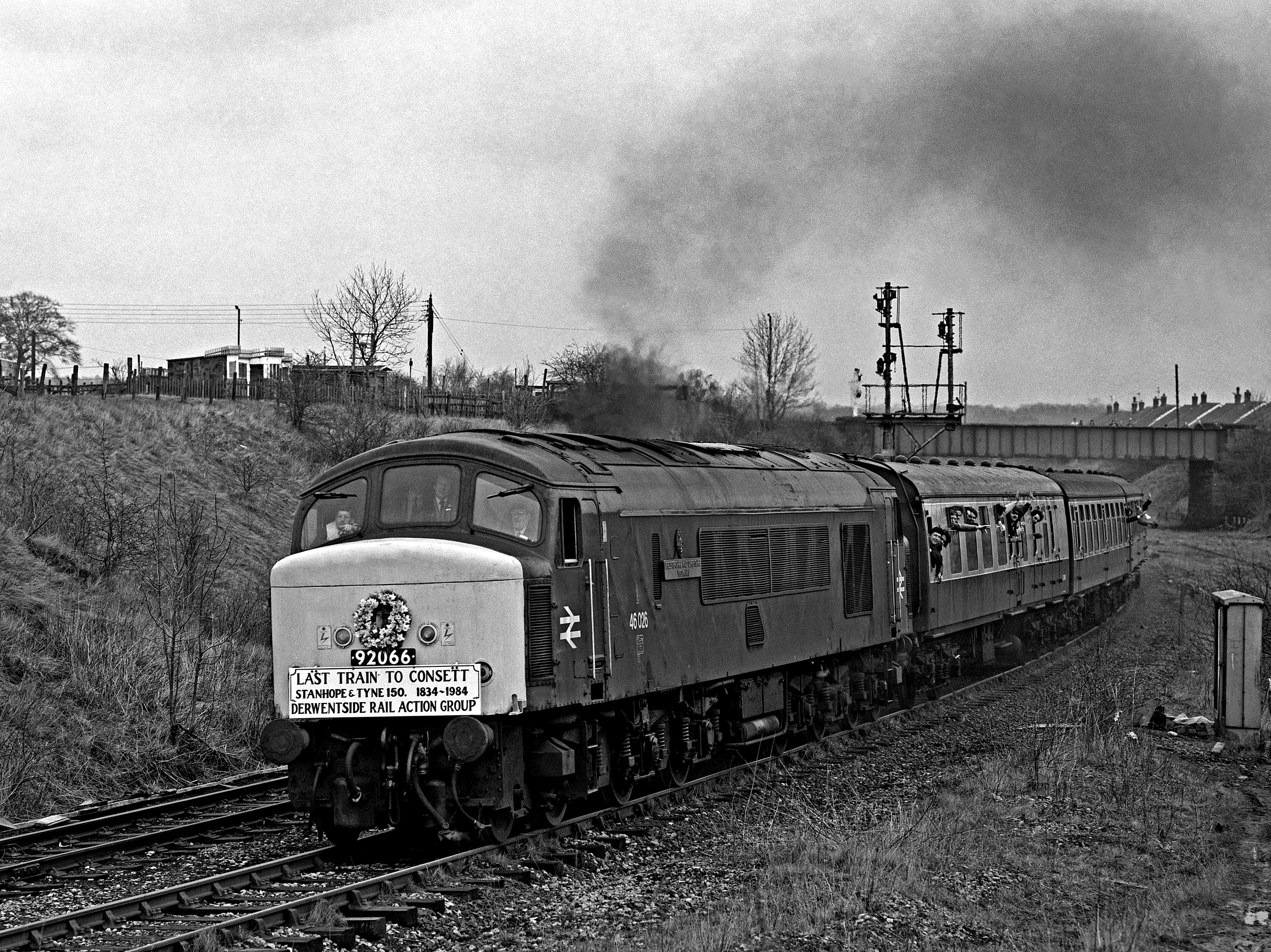 46026 on the last passenger train to consett at Stella Gill (17 March 1984)