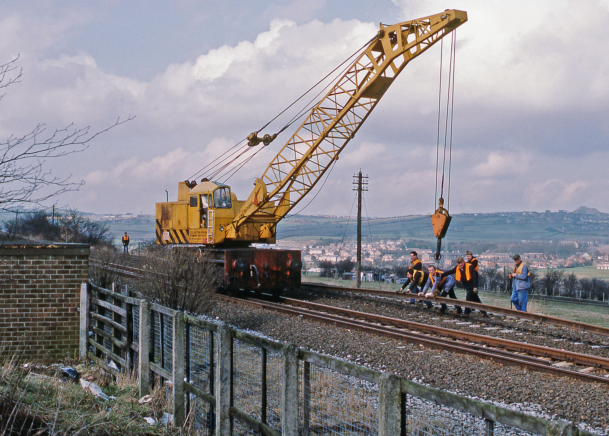 Track lifting at the site of West Stanley station on 27 March 1984. Photo copyright Stephen McGahon