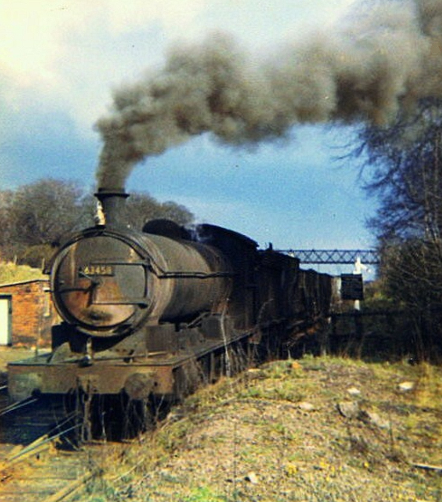 With fifty years of service to its credit ex NER T2, Q6 0-8-0 63458 pauses for a blow up beside the box at Beamish . The rusted smoke box door indicates just how run-down these locos were at the end. Photo Copyright David Milburn
