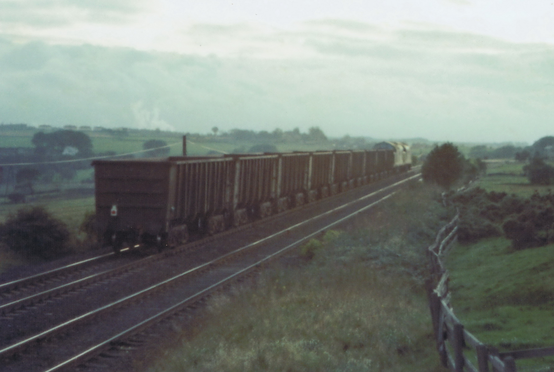 37053 and 37055 at East Castle on 10 September 1980 with the very last iron ore train to Consett. Photo Authors Collection