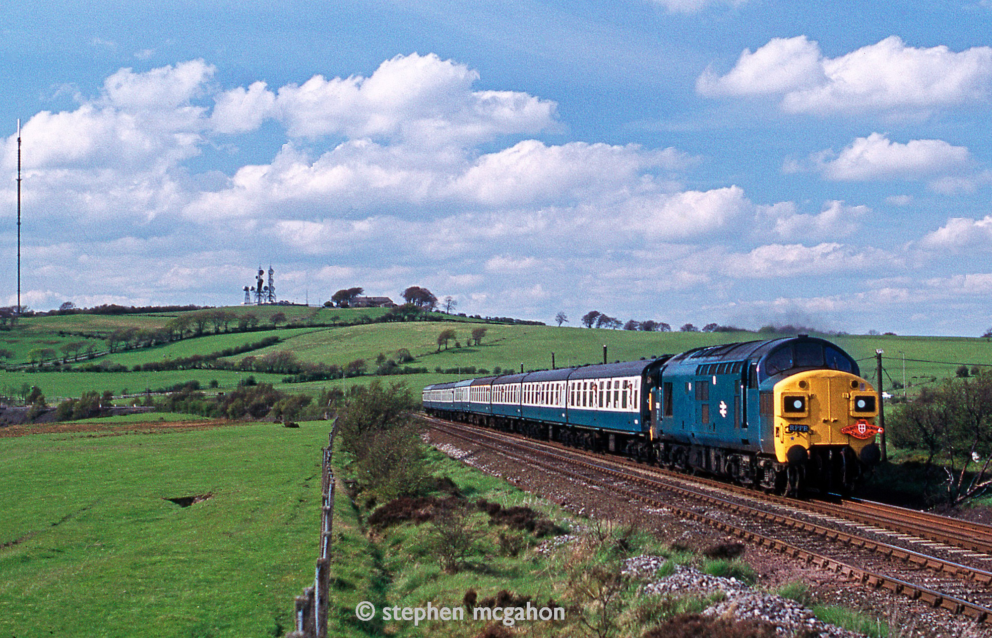 The County Durham Crusader passes between East Castle and Greencroft on 19 May 1979 on the return journey from Consett. Photo copyright Stephen McGahon