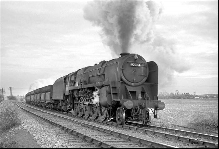 92064 at Pelton in the 1960s with a loaded ore train for Consett. Photo Robin Barbour Collection