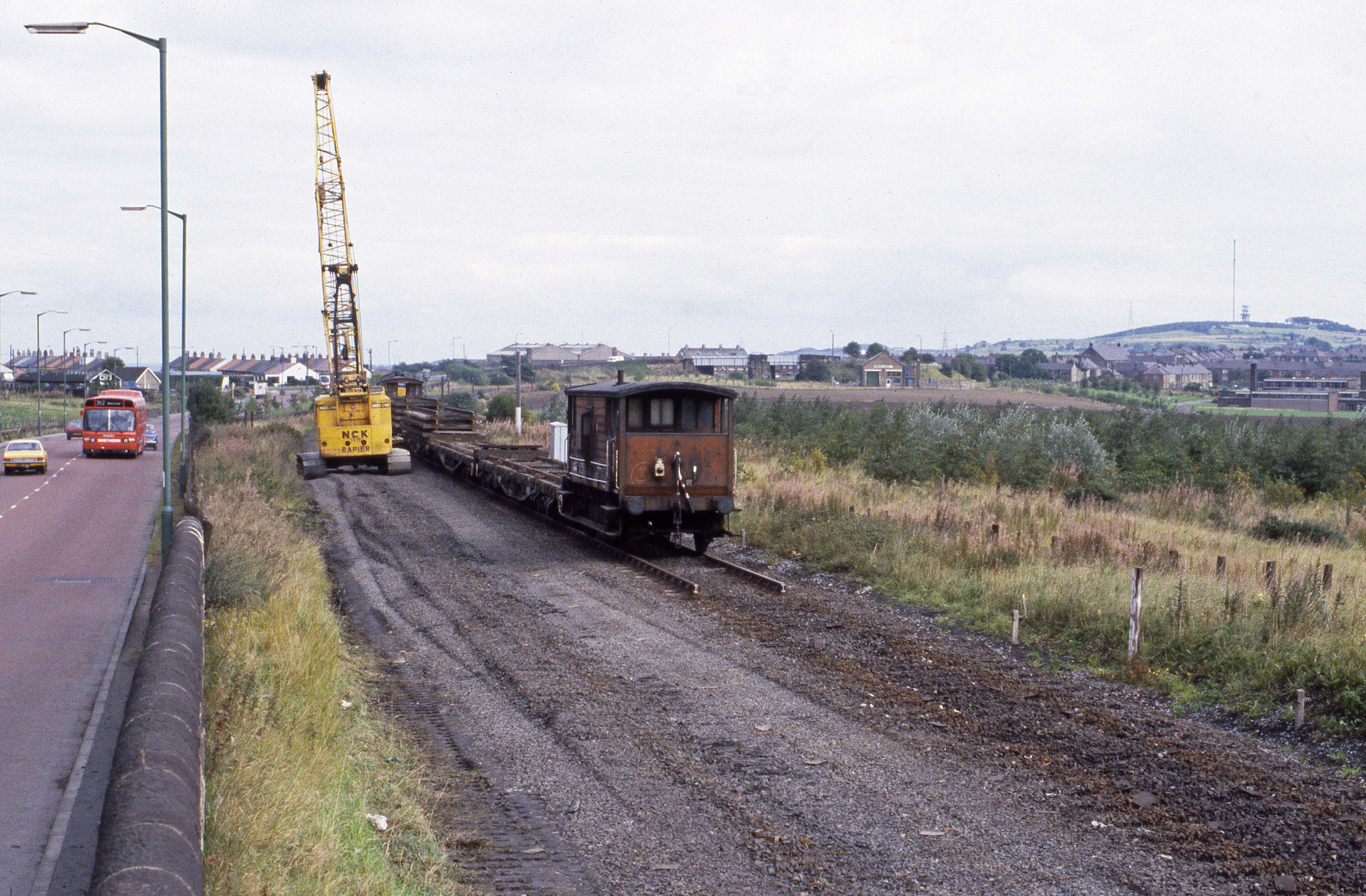 Track lifting at Consett on 25 September 1984. Note the bridge at Leadgate in the background. Photo copyright Stephen McGahon