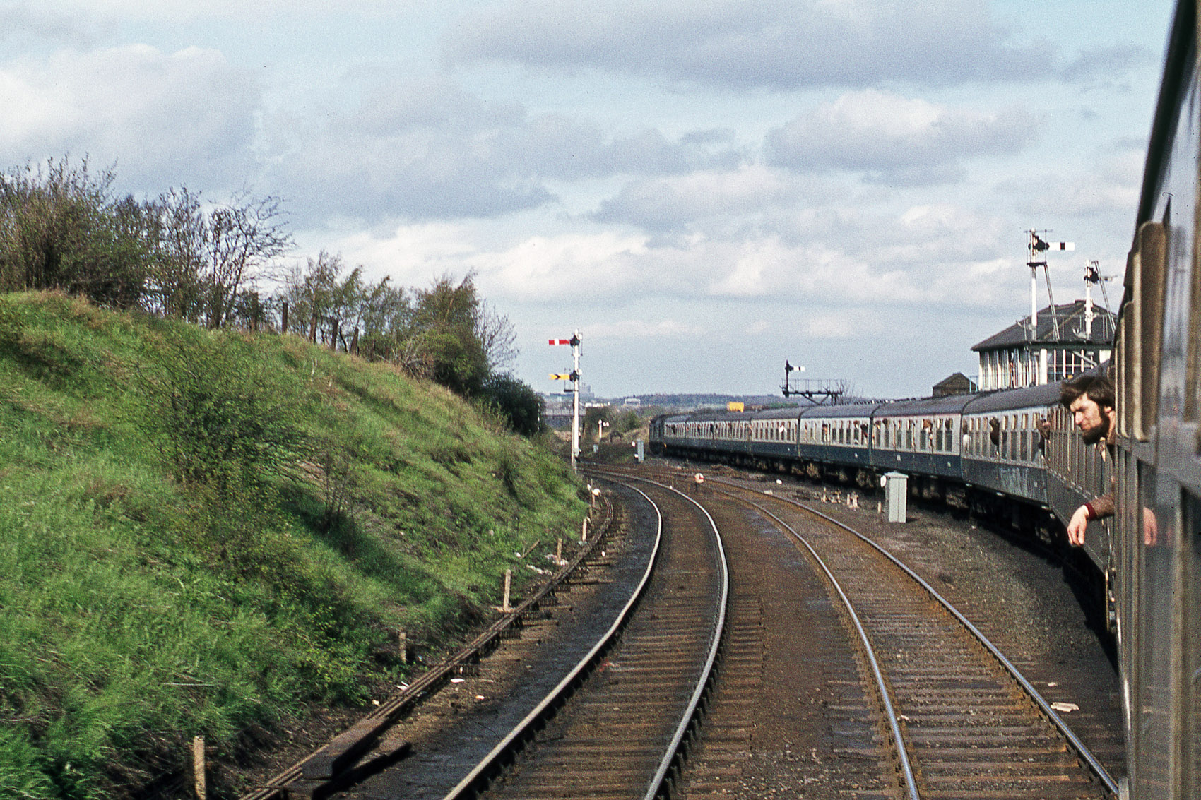 The Country Durham Crusader takes the line to Washington at South Pleaw Junction on the return journey from Consett on 12 May 1979. Photo copyright Stephen McGahon