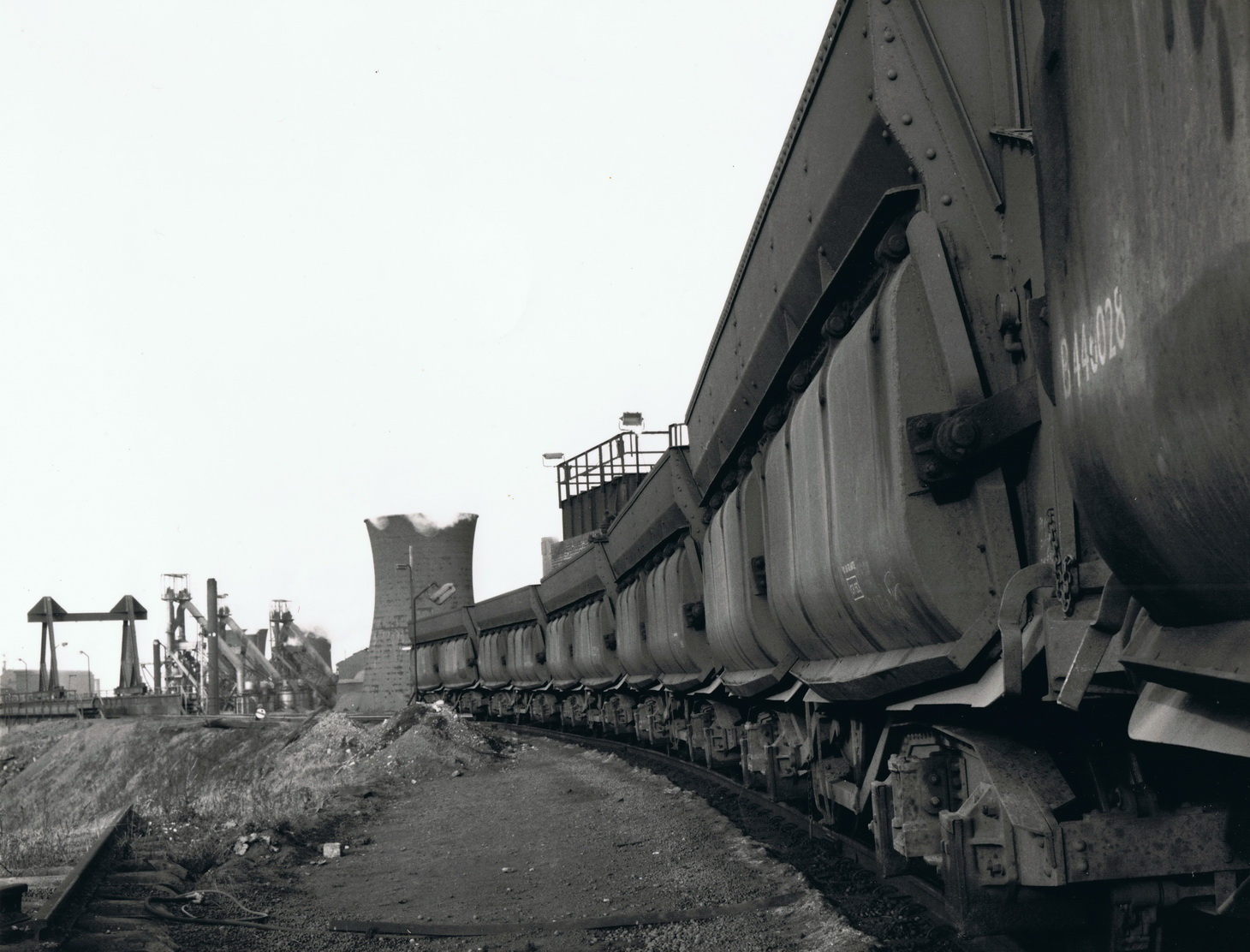An iron ore train at Consett in 1970 with the unloading gantry in the background. Photo Authors Collection