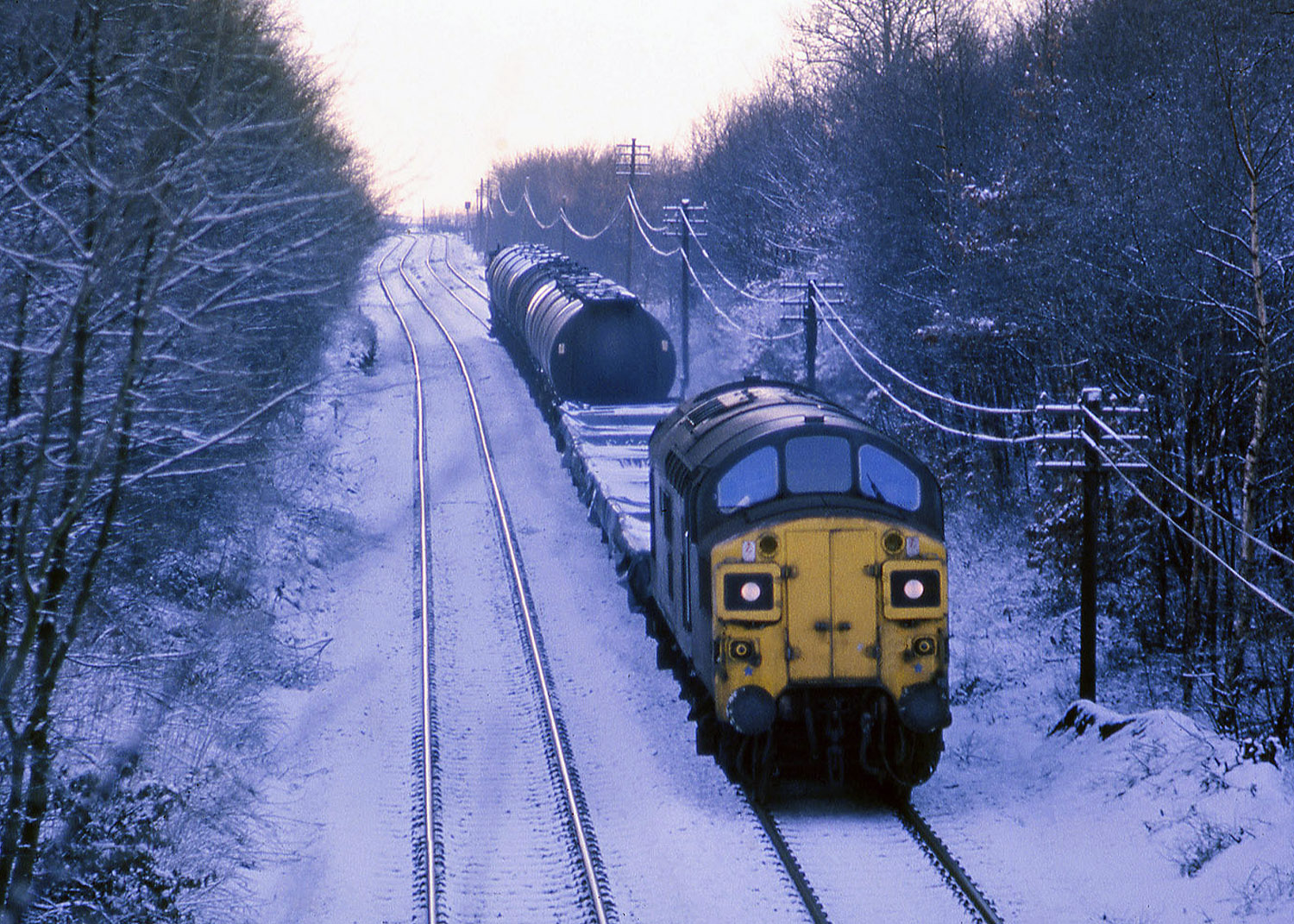 An unknown Class 37 heads towards Beamish in January 1978.