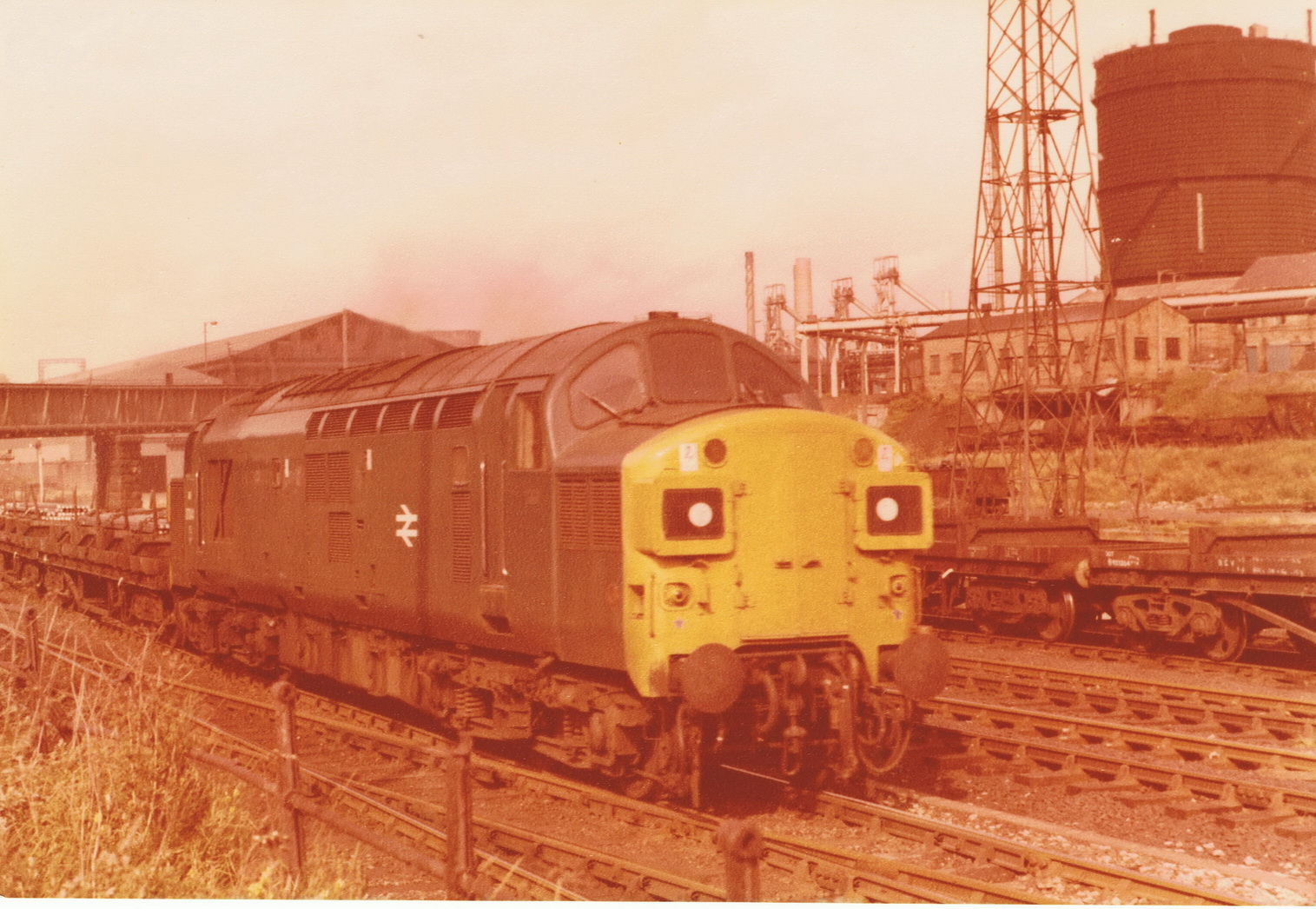 An unknown Class 37 on a steel train at Consett on 22 March 1980. Photo Authors Collection