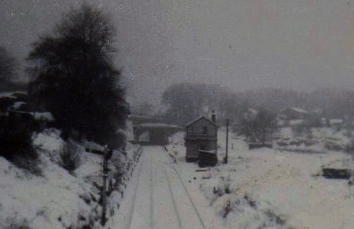 The site of Beamish station just prior to another fall of snow. This early 60s shot shows the platforms still in place but all the station yard track work has been removed. Photo Copyright David Milburn