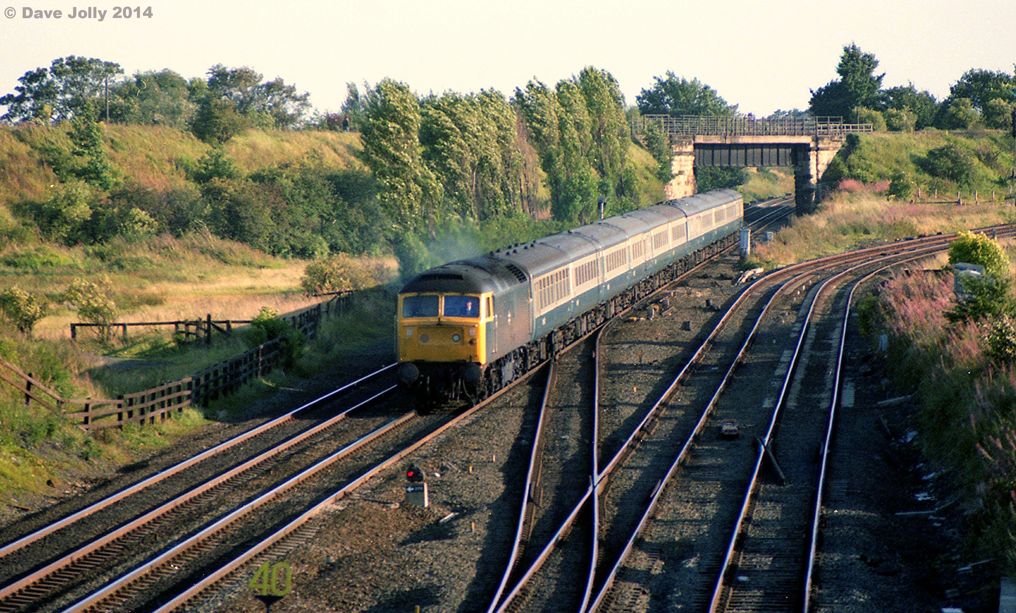 47405 at Ouston junction with 1E63 0942 Poole to Newcastle 02/09/1982. Photo copyright Dave Jolly