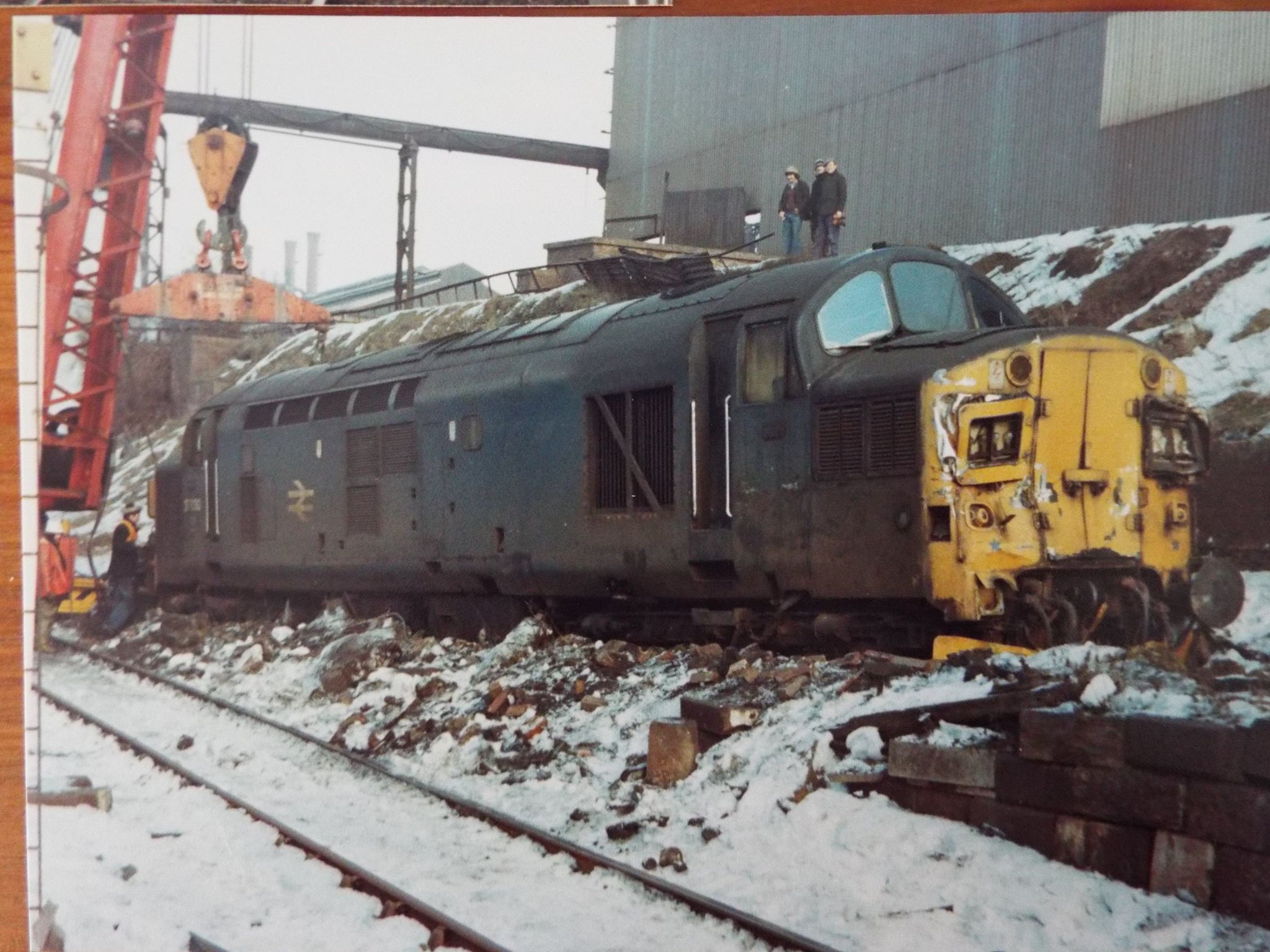37030 at the steelworks showing the aftermath of a collision with the buffers on 8 February 1979. Photo copyright John Atkinson